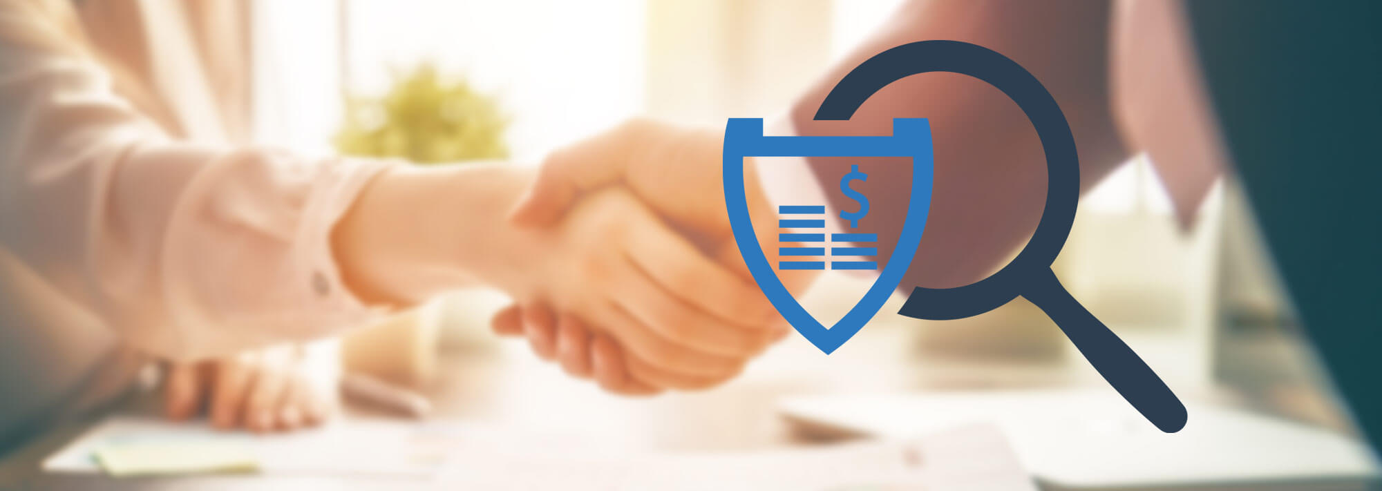 Insurance searching / shopping theme: Magnifying glass on top of a cost estimate in the foreground with people shaking hands in the background